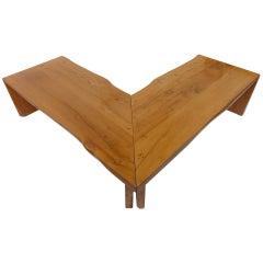 Italian Custom Made Rustic Walnut Corner Table / Bench 1960's