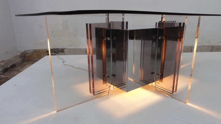 Modern Illuminated Sculptural Table by Ph Jean for Galerie Eric and Xiane Germain Paris For Sale