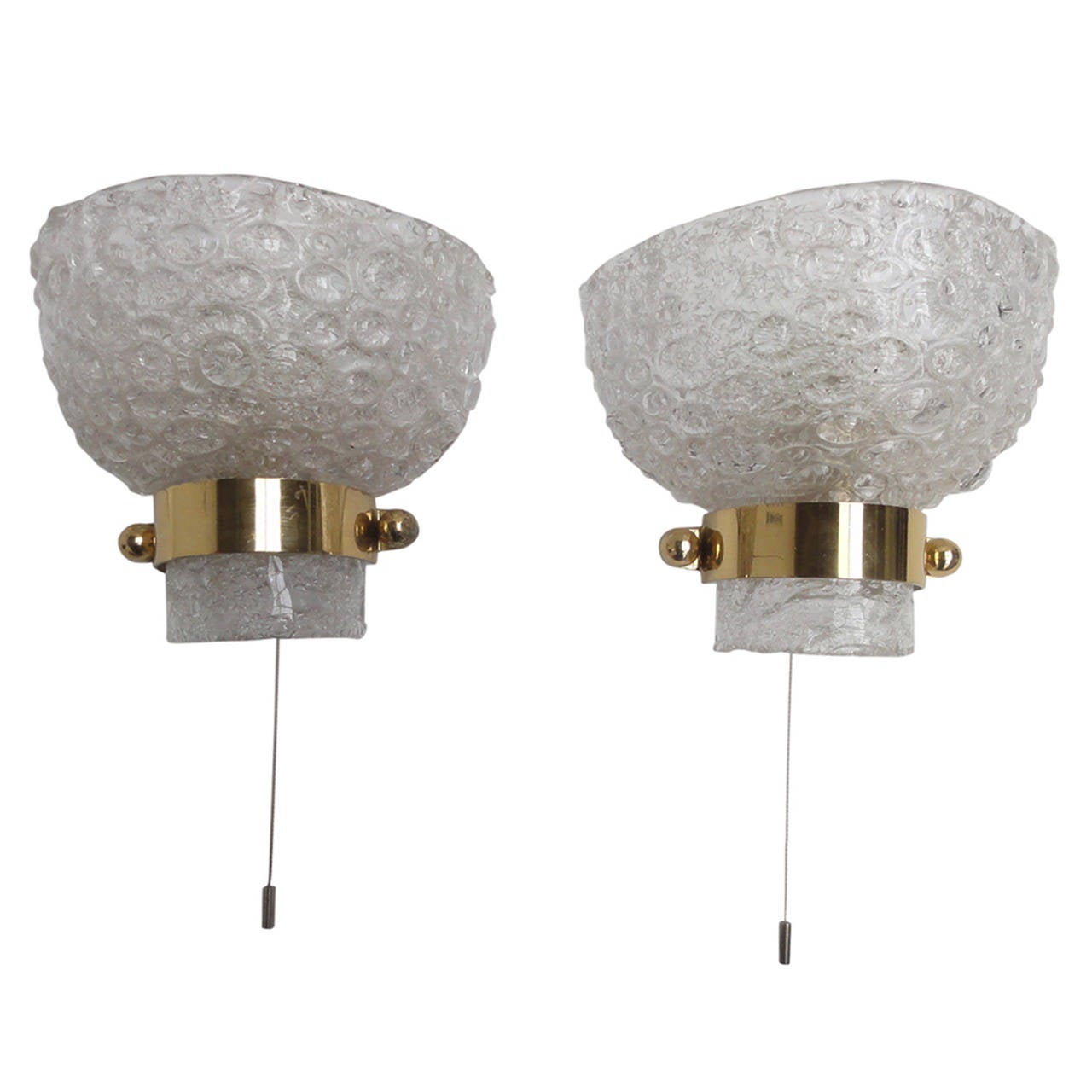 Textured Ice Crystal Glass & Brass Wall Sconces by Kaiser Germany 1960's