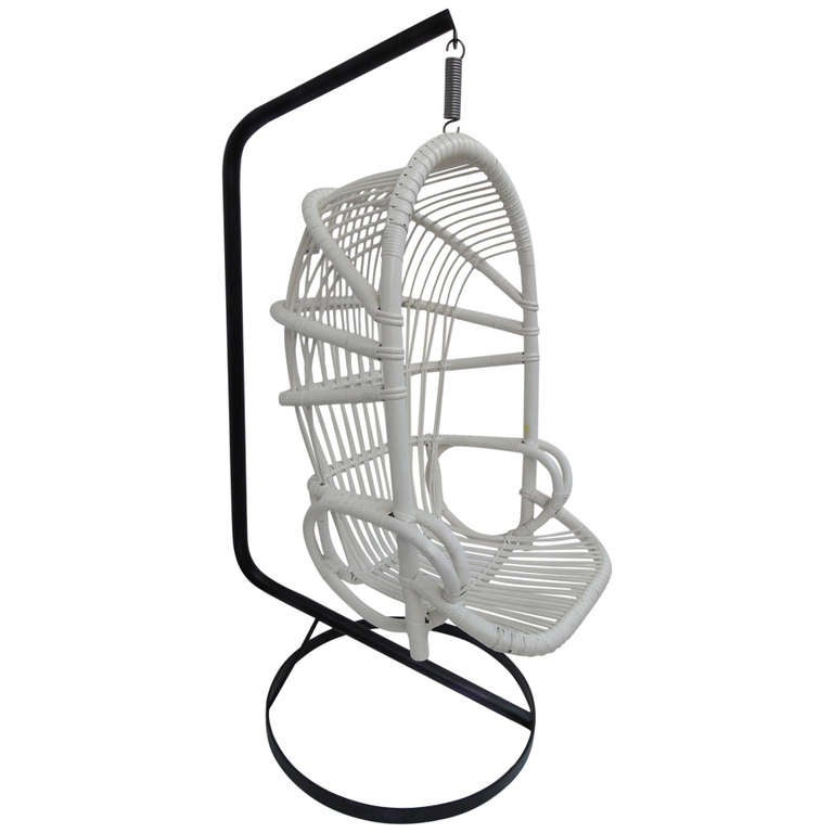 Iconic Sixties White Cane Parrot Hanging Chair With Metal Frame By Rohe Noordwolde The Netherlands For Sale
