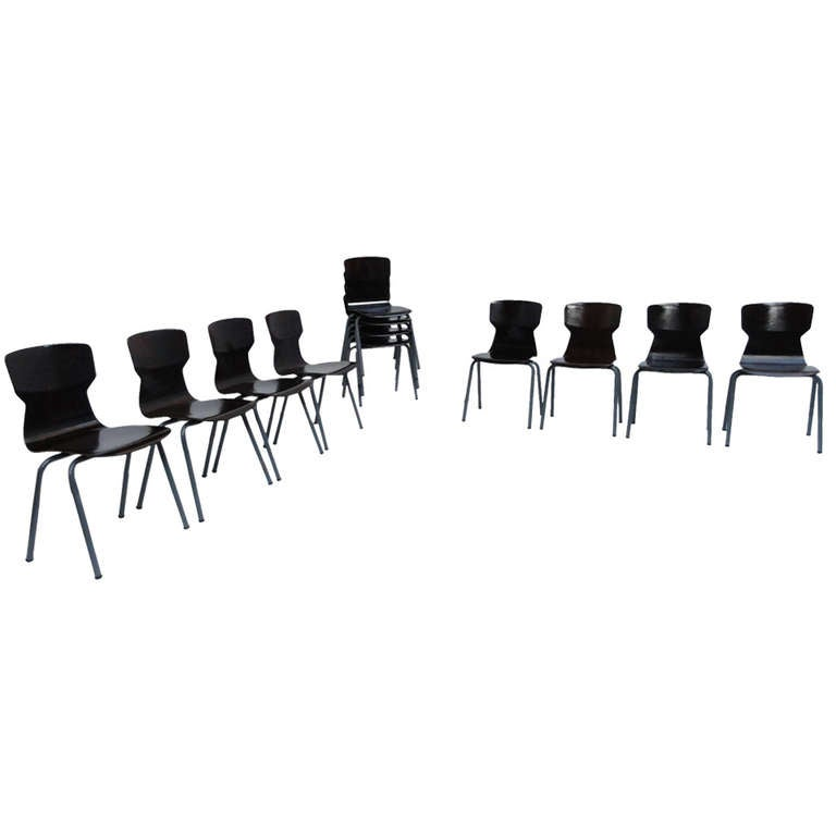 Set of 12 stackable Pacwood Galvanitas Industrial chairs, The Netherlands