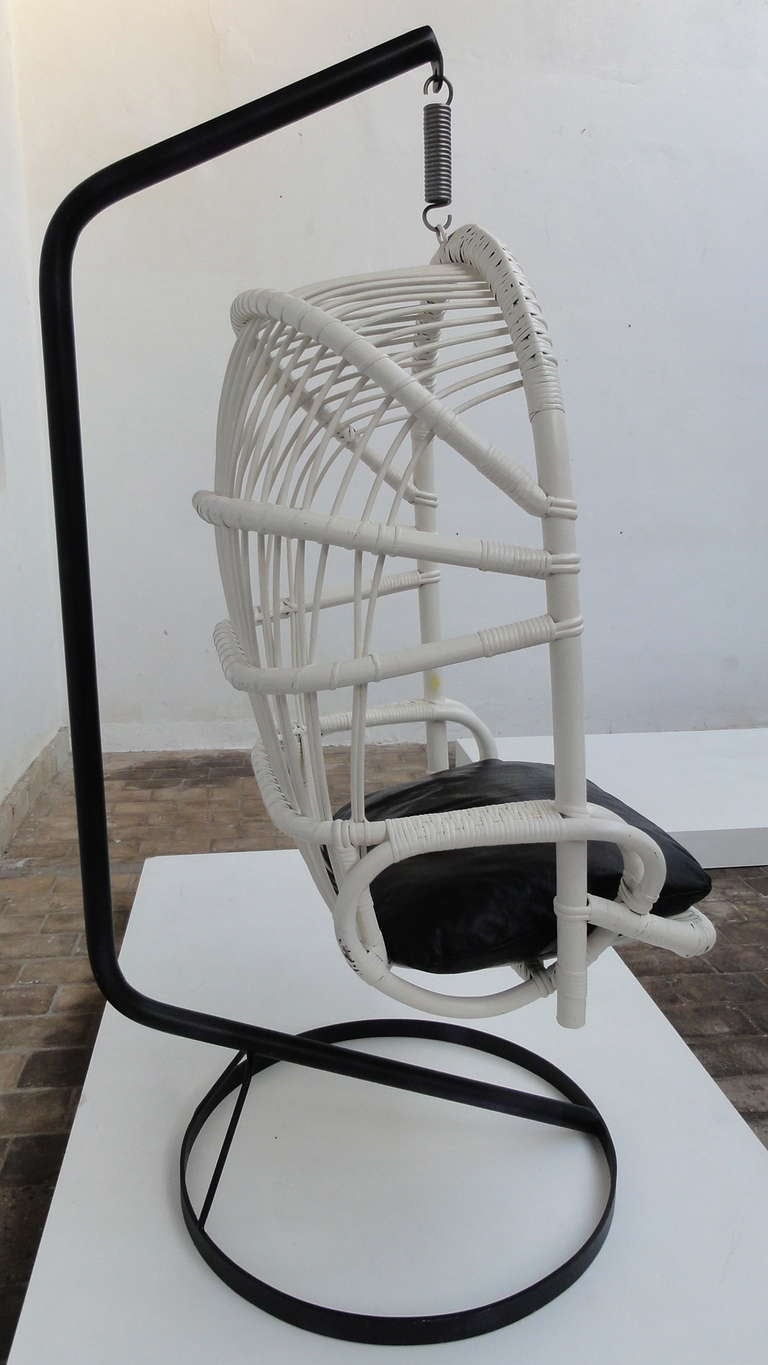 Mid-20th Century Iconic Sixties White Cane Parrot Hanging Chair With Metal Frame By Rohe Noordwolde The Netherlands For Sale