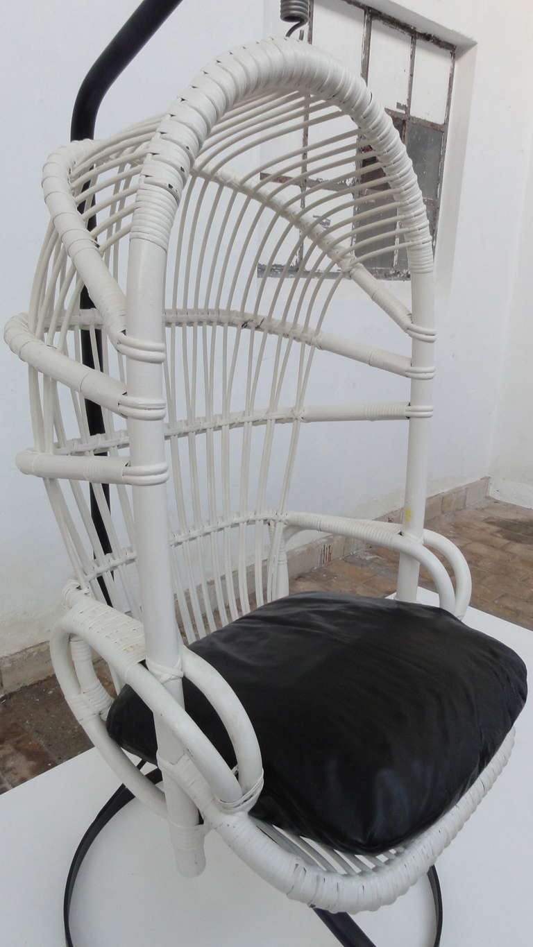Iconic Sixties White Cane Parrot Hanging Chair With Metal Frame By Rohe Noordwolde The Netherlands 3