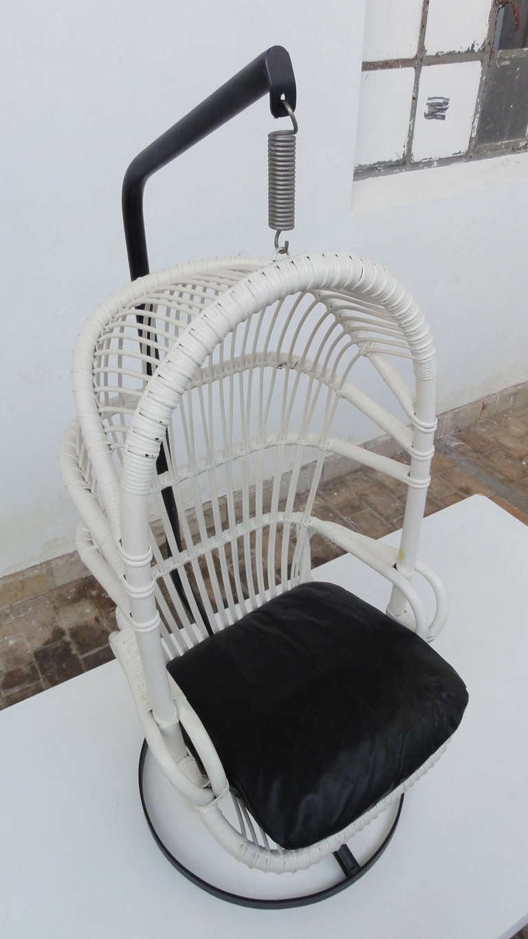 Dutch Iconic Sixties White Cane Parrot Hanging Chair With Metal Frame By Rohe Noordwolde The Netherlands For Sale