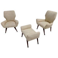 Pair Of Sculptural Italian Armchairs And Ottoman, 1950, Walnut Legs, Brass  Feet