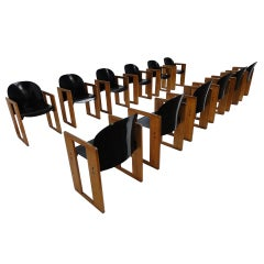 """Amazing set of Twelve, Tobia (son of Carlo) and Afra Scarpa """"Dialogo"""" chairs"""