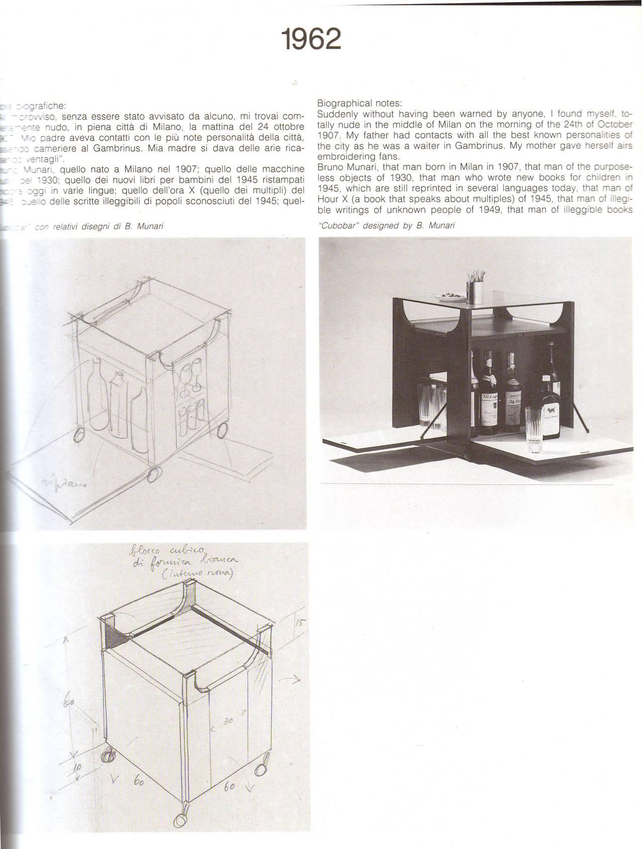 Mid-Century Modern Stunning Bar by Bruno Munari, Rare Early Mahogany Edition 1962, Stildomus, Italy For Sale