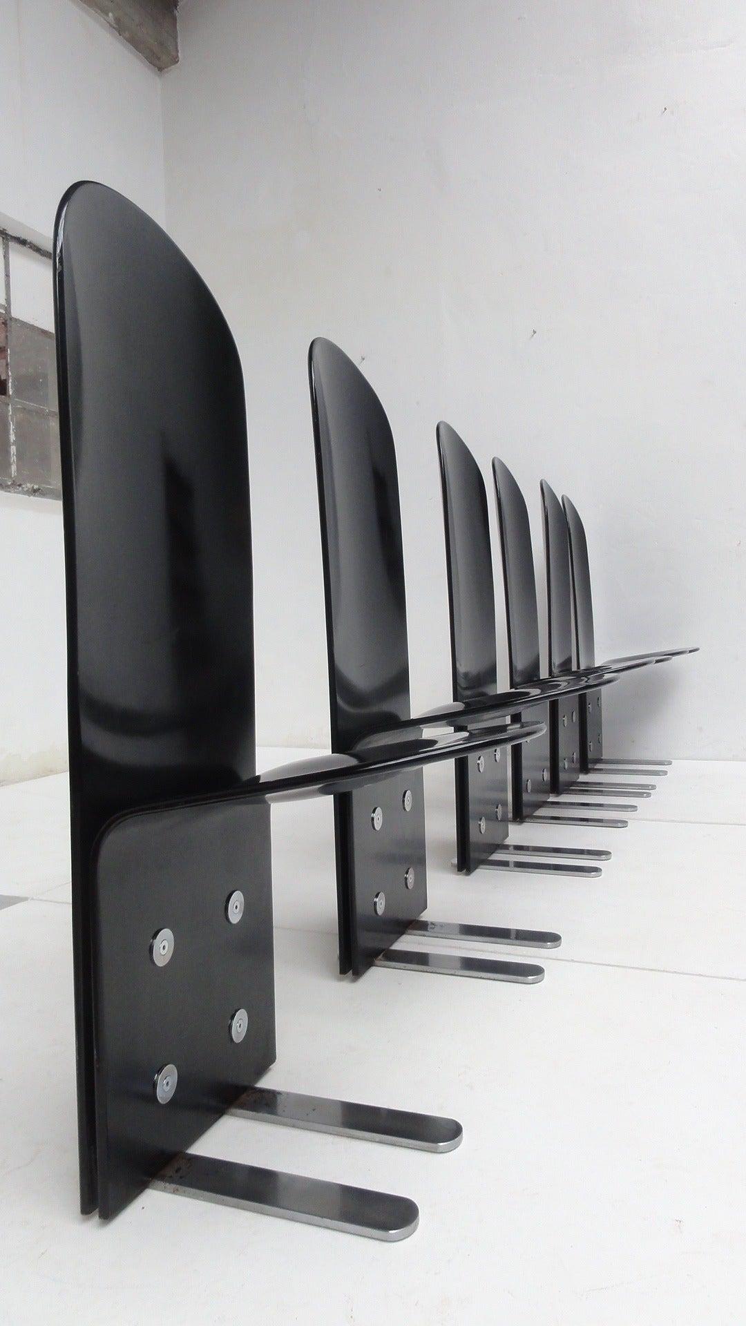 Italian Beautiful Set of Six 'Pellicano' Chairs by Luigi Saccardo, Published Casa Vogue For Sale