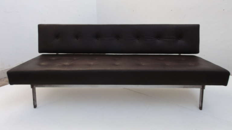 Mid-Century Modern Superb 1958, 3 seat, Gianfranco Frattini,  '872' leather sofa, Cassina, Italy For Sale