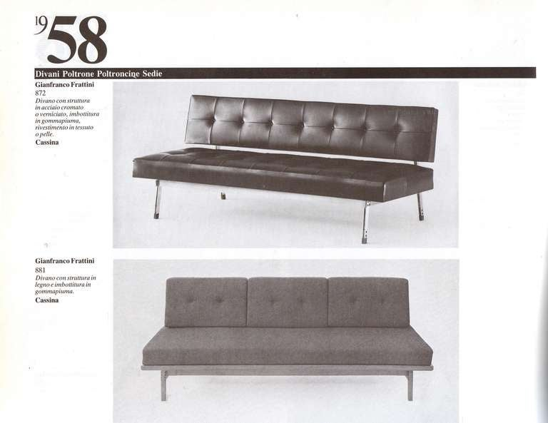 Superb and very rare  1958 '872' sofa by Gianfranco Frattini for Cassina, Italy.  This  3 seat sofa is finished in superb dark brown buttoned leather with nickel plated legs and supports with rosewood inserts.  This rare design is documented at