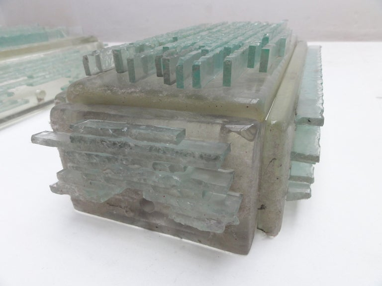 Glass Brutalist Form Crystal Appliques Designed By Poliarte, Verona For Hotel For Sale