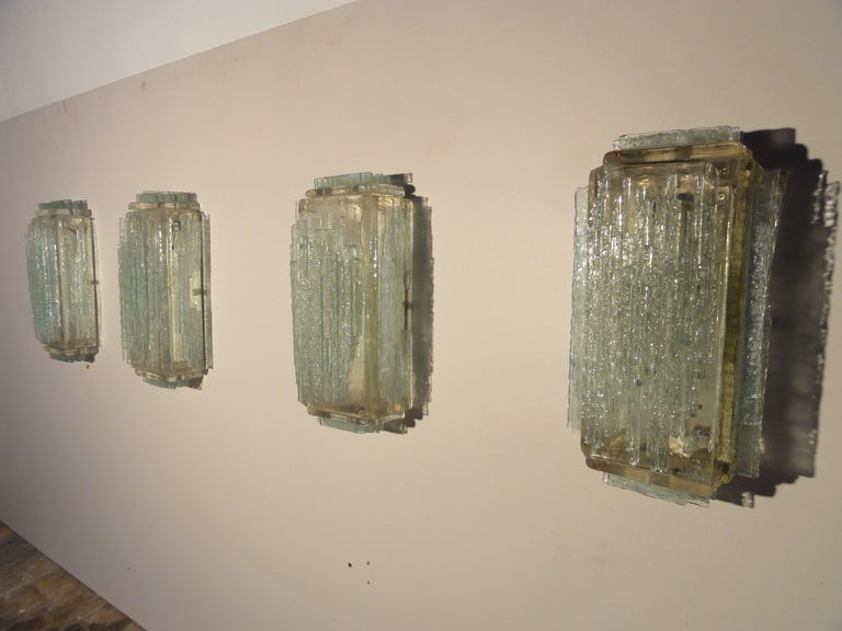 Brutalist Form Crystal Appliques Designed By Poliarte, Verona For Hotel For Sale 1