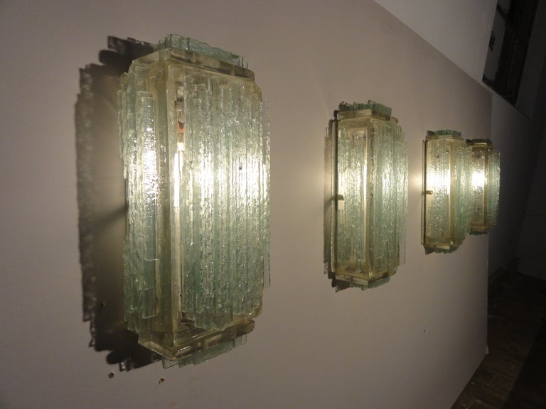 Italian Brutalist Form Crystal Appliques Designed By Poliarte, Verona For Hotel For Sale