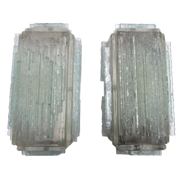 Brutalist Form Crystal Appliques Designed By Poliarte, Verona For Hotel For Sale