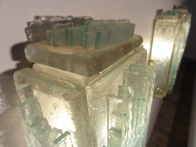 Mid-Century Modern Brutalist Form Crystal Appliques Designed By Poliarte, Verona For Hotel For Sale