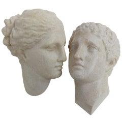Adonis & Aphrodite marble resin lamps by A.Cazenave. Published Casa Vogue 1975