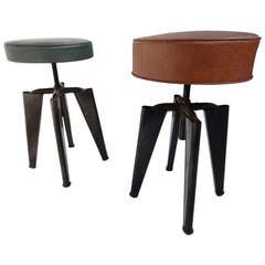 Super rare adjustable height 'Clemenceau' stools by Dominique aka  André Domin and Marcel Genevière,1960