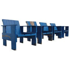 Lovely Set Of 4  Mid 1960s Rietveld Crate Chairs In Distressed Vintage Condition