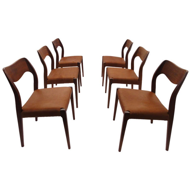 6 Teak And Leather Niels O Moller Dining Chairs Denmark At 1stdibs