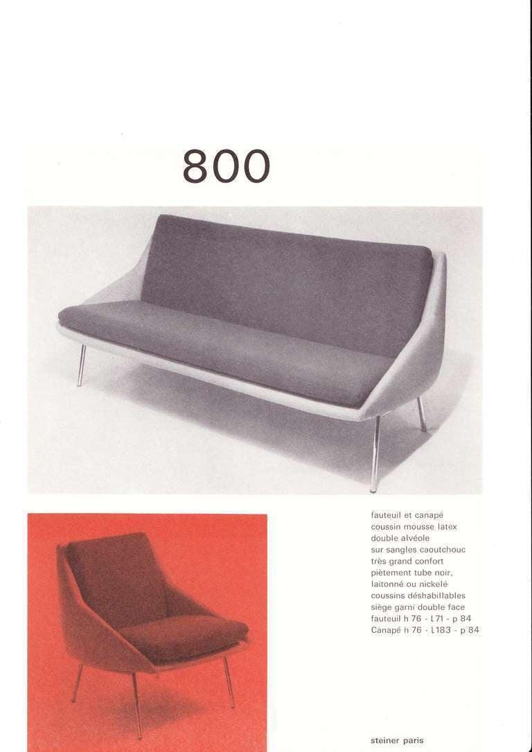 rare and elegant 1956 39 800 39 lounge chair by j a motte for steiner france for sale at 1stdibs. Black Bedroom Furniture Sets. Home Design Ideas