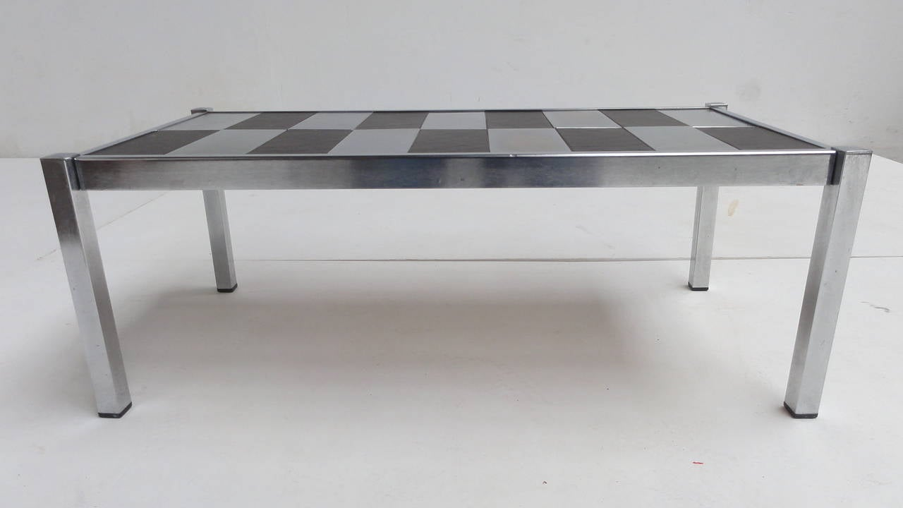 Black Slate Stone And Chromed Steel 1970s Coffee Table For Sale At 1stdibs