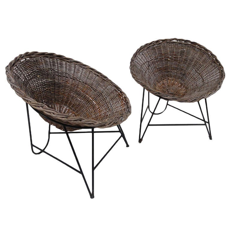 Superb Nice Pair Of Dutch 50u0027s Outdoor Wicker Basket Chairs With Metal Wire Base 1