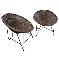 Nice Pair Of Dutch 50's Outdoor Wicker Basket Chairs With Metal Wire Base