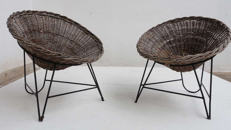 Nice Pair Dutch 50 s Outdoor Wicker Basket Chairs With Metal Wire Base