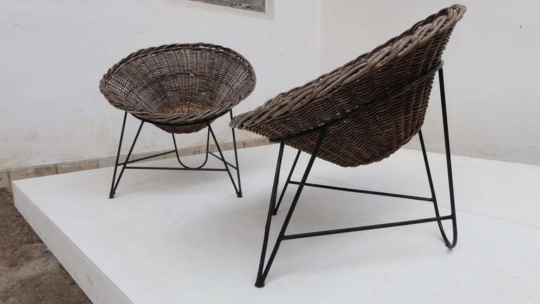 Nice Pair Of Dutch 50 S Outdoor Wicker Basket Chairs With
