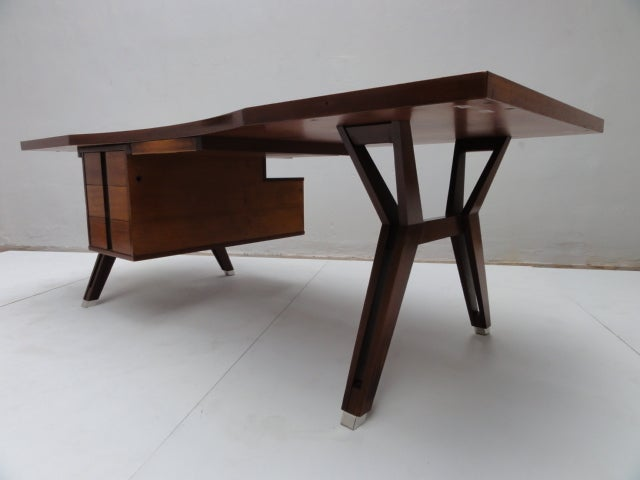 Ico Parisi ''Terni'' Executive Desk, 1958, Published MIM Roma, Italy For Sale 3