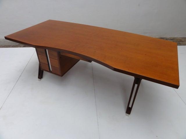 Aluminum Ico Parisi ''Terni'' Executive Desk, 1958, Published MIM Roma, Italy For Sale
