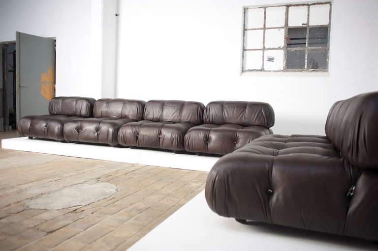 Italian 6 Bellini Camaleonda Modular Sofa Elements Brown Leather 1st Ed