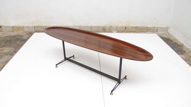 Great Spectacular Rosewood Surfboard Table, Italy 1950u0027s 2
