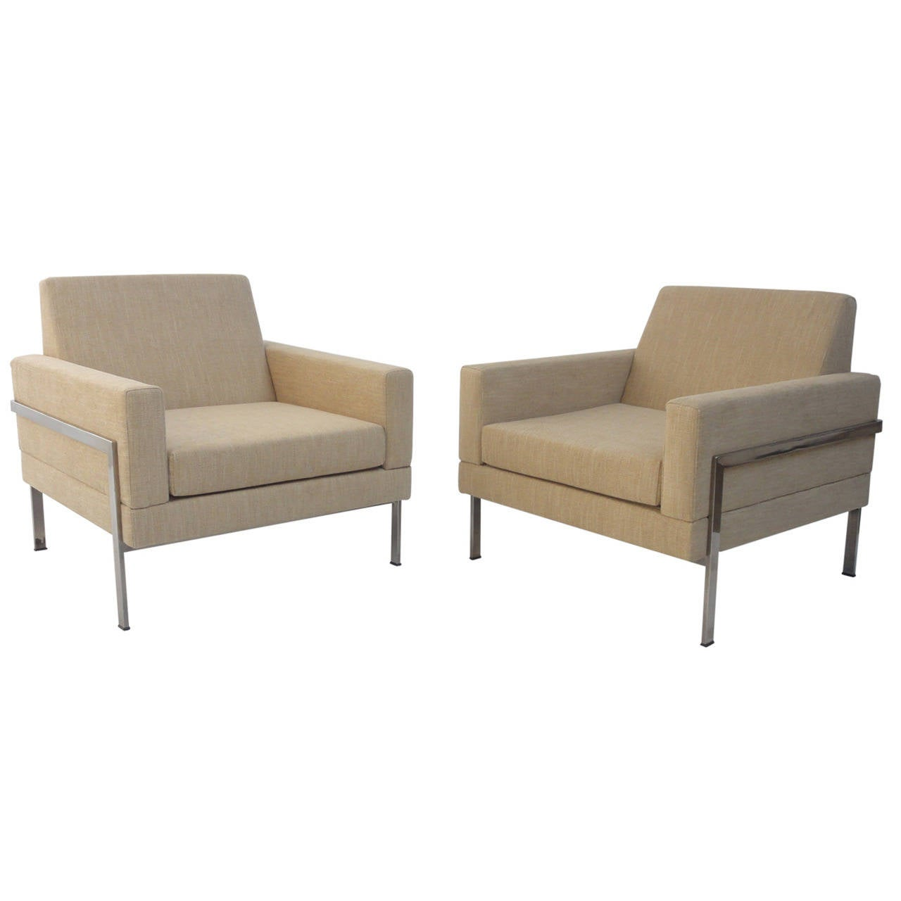 Pair of 1960s Cubic Lounge Chairs Attributed to Walter Knoll, Germany