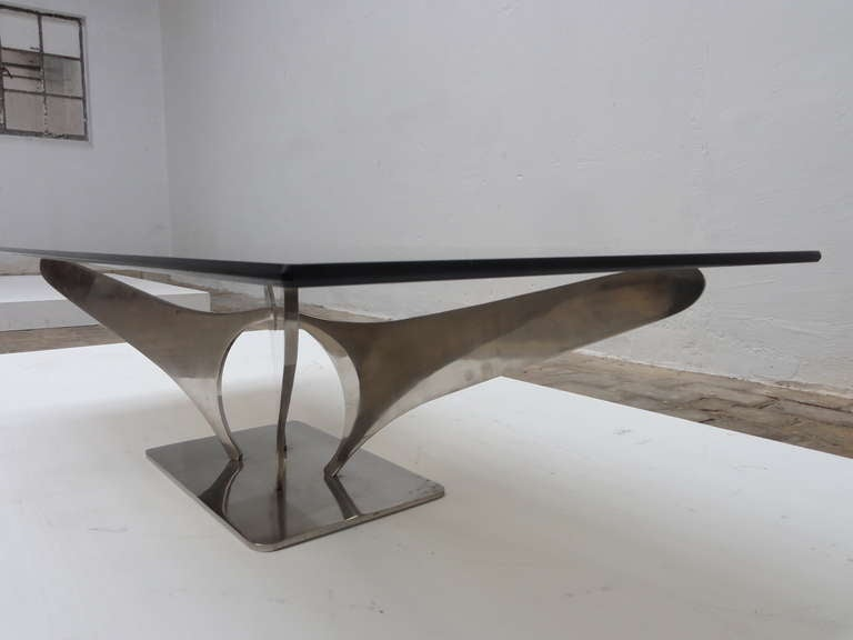 Stunning french 1968 72 sculptural coffee table in 5 16 for Coffee table 72 inch