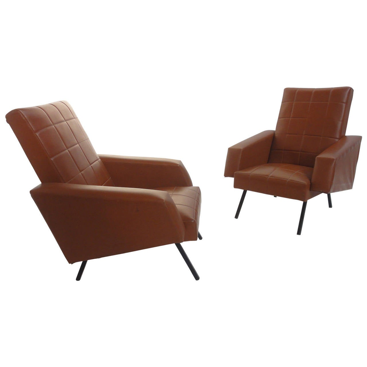 Very comfortable pair of 1950s french reclining leather armchairs - Pair Of French Easy Chairs In The Manner Of Pierre Guariche For Airborne 1