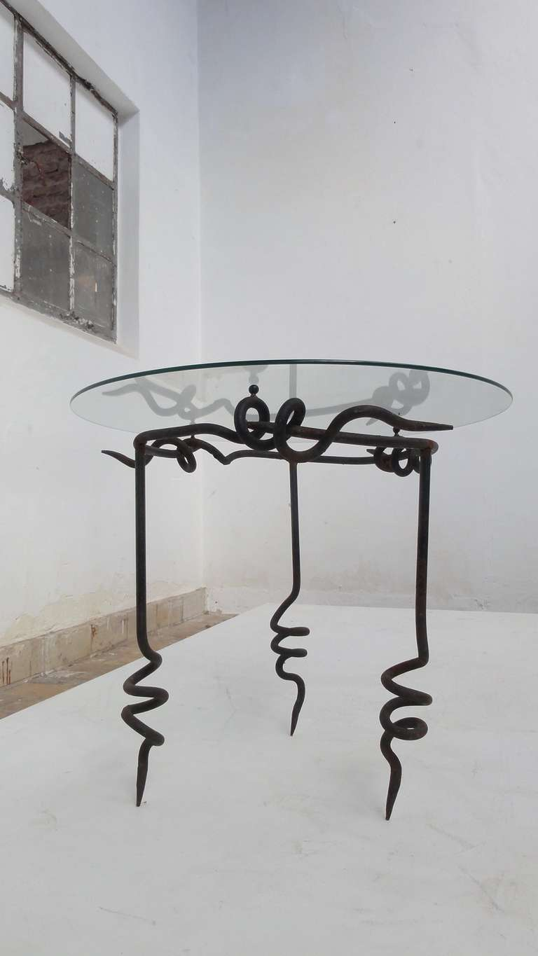 Brutalist 39 39 pig tail 39 wrought iron side table by maroeska for Wrought iron side table