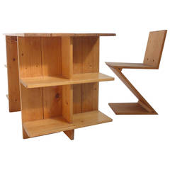 Gerrit Rietveld Crate Desk and Zig Zag Chair Metz & Co, 1950s the Netherlands