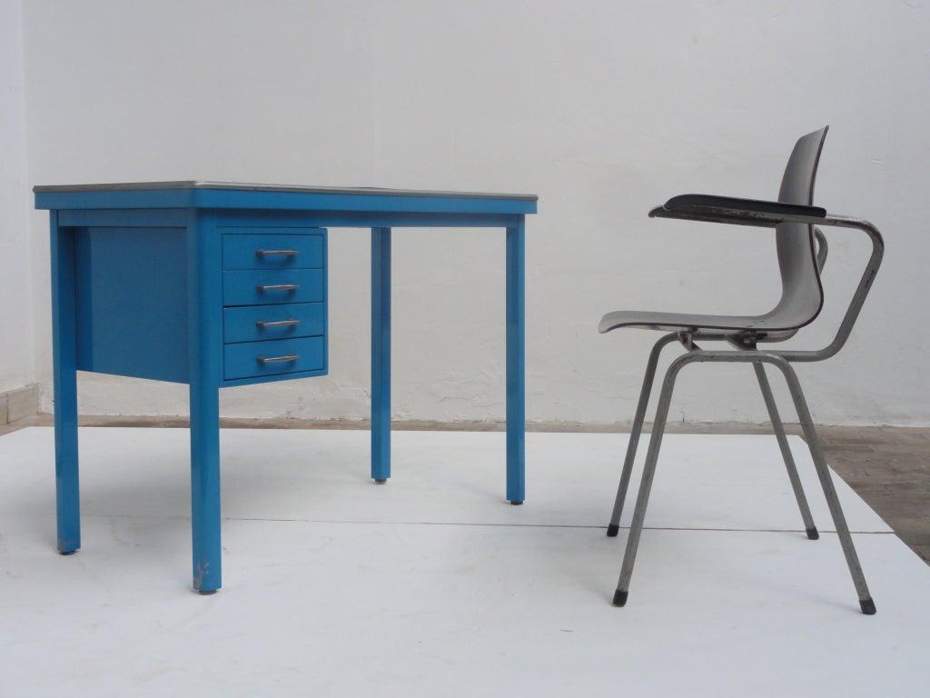 A Sturdy Metal Secretary Desk With Black Linoleum Top By Gispen. The  Armchair (Galvanitas