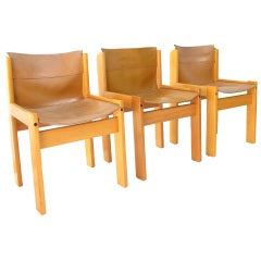 Set of 12 leather sling seat dining chairs by Ibisco, Italy