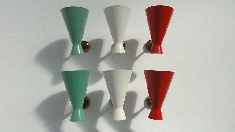 Mid-Century Modern Amazing Set Of 6 Italian Stilnovo Style 50's Wall Sconces For Sale