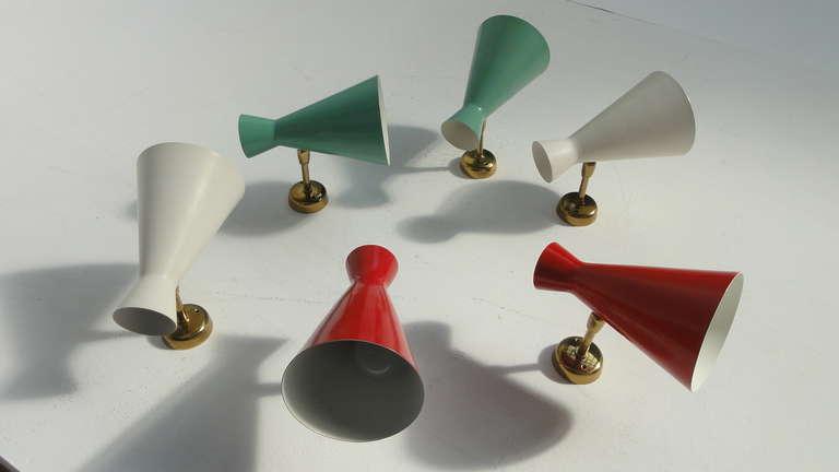 Amazing Set Of 6 Italian Stilnovo Style 50's Wall Sconces For Sale 4