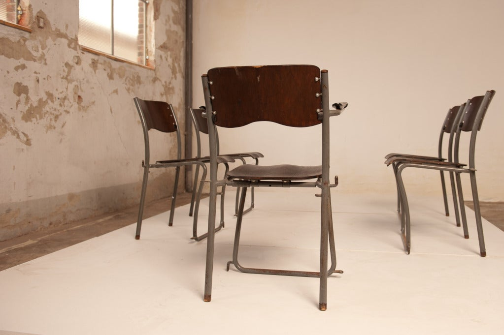Brass 12 Sjoerd Schamhart architectural chairs The Hague 1953 For Sale