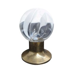 Rare Murano Glass Sphere and Brass Table Lamp by Gino Vistosi, Italy, 1960s