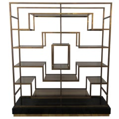 monumental geometric brass shelving by Romeo Rega, Italy, 1970's