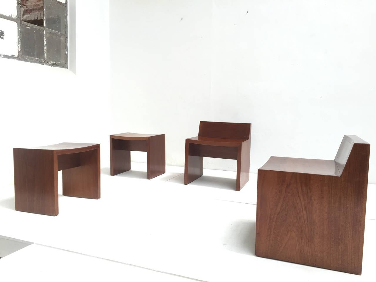 Carved Unique Set of Solid Mahogany Church Seats by Dutch Architect Harry Nefkens, 1963 For Sale