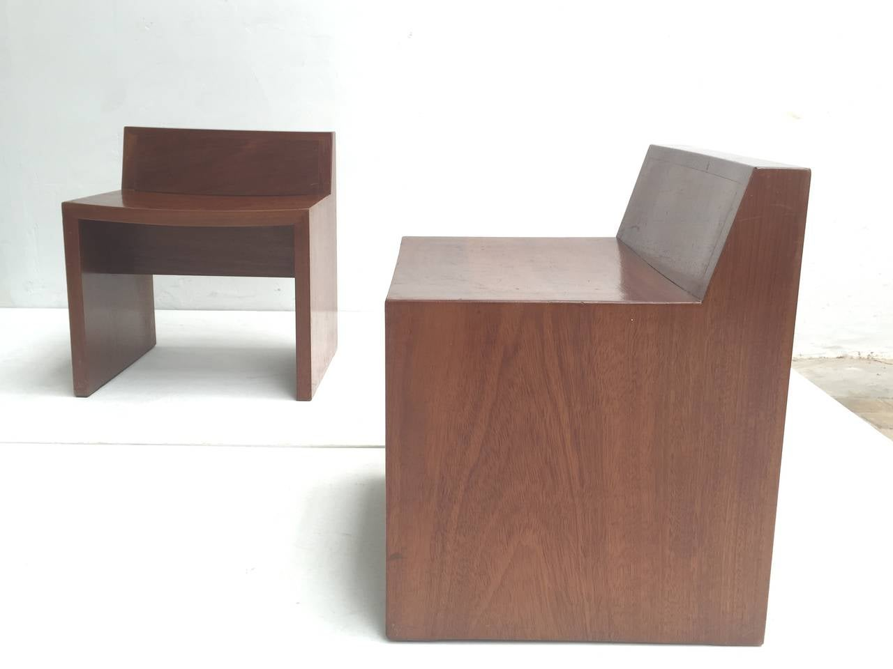 Unique Set of Solid Mahogany Church Seats by Dutch Architect Harry Nefkens, 1963 For Sale 3