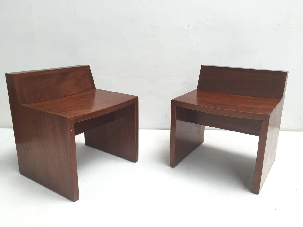 Unique Set of Solid Mahogany Church Seats by Dutch Architect Harry Nefkens, 1963 For Sale 4