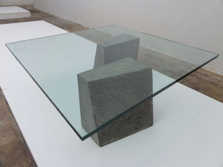 Minimalist dutch concrete and glass coffee table at 1stdibs