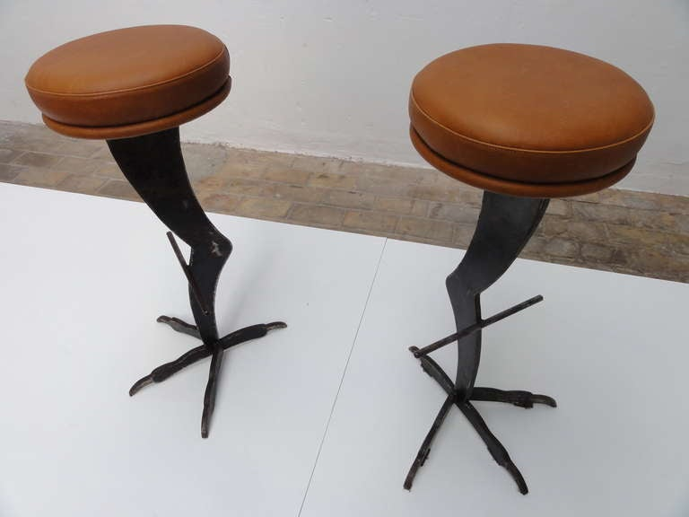 Rare Pair Of Surrealist Bar Stools In The Style Of Meret